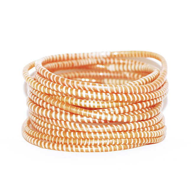 Lot de 12 bracelets Jokko en plastique recyclé Orange mandarine - Mali 030