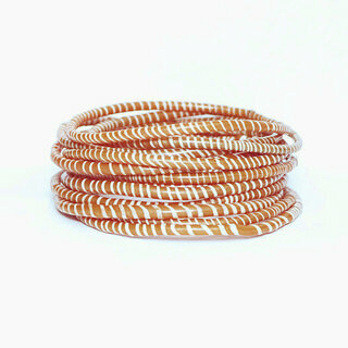 Lot de 12 bracelets Jokko en plastique recyclé Orange Camel - Mali 031