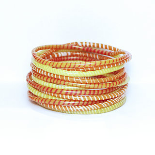 Lot de 12 bracelets Jokko en plastique recyclé mix Jaune Orange - Mali 037