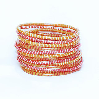 Lot de 12 bracelets Jokko en plastique recyclé mix Rose Orange - Mali 045