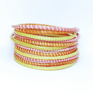 Lot de 12 bracelets Jokko en plastique recyclé mix Rose Jaune Orange - Mali 048