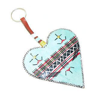 -70% Grand porte-clés touareg coeur en cuir brodé ... 00fde84775b