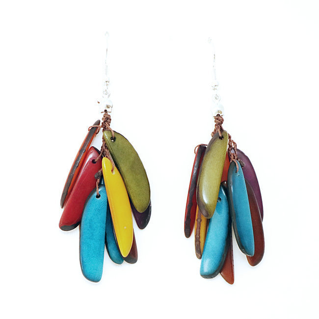 Boucles d'oreilles graines de tagua flamme multicolore - Tagua and Co 005