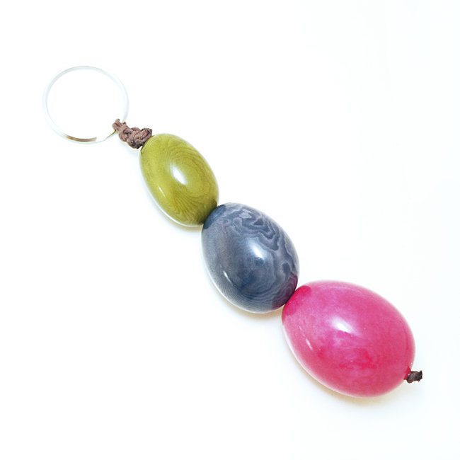 Porte-clés graine de tagua trio rose - Tagua and Co 001