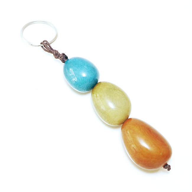 Porte-clés graine de tagua trio turquoise - Tagua and Co 001