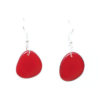 Boucles d'oreilles graine de tagua pétalito rouge - Tagua and Co 001