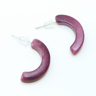 Boucles d'oreilles graine de tagua demi-lunes luna prune - Tagua and Co 006