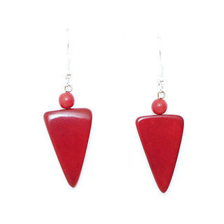 Boucles d'oreilles graine de tagua triangle cayambé rouge - Tagua and Co 007