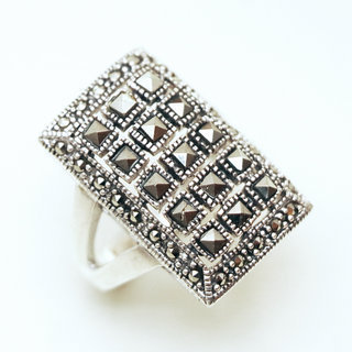 Bague large rectangle en argent 925 et Marcassites - Inde 122