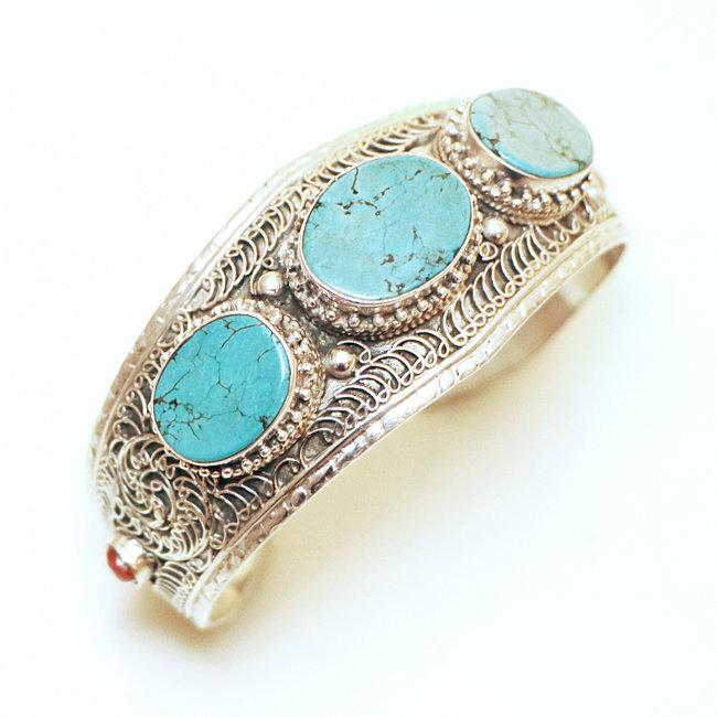 Bracelet manchette filigranes argent 925 Turquoise et Corail , Népal 023