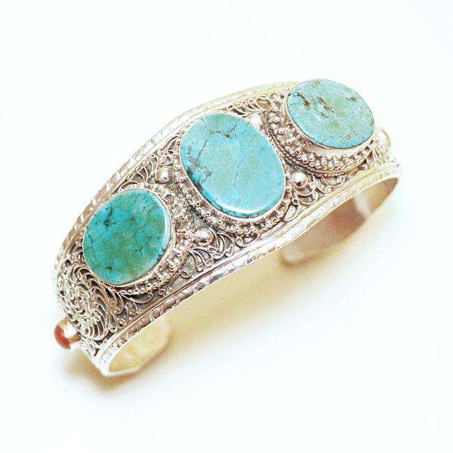 Bracelet manchette filigranes argent 925 Turquoise et Corail , Népal 025