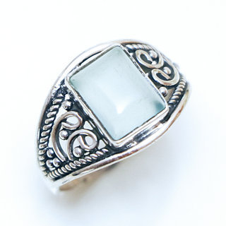 Bague fine rectangle filigranes argent 925 et Calcédoine bleue - Inde 150