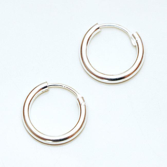 magasin d'usine 9e2c9 8356f Boucles d'oreilles petites créoles argent 925 1,1 cm - Népal 021