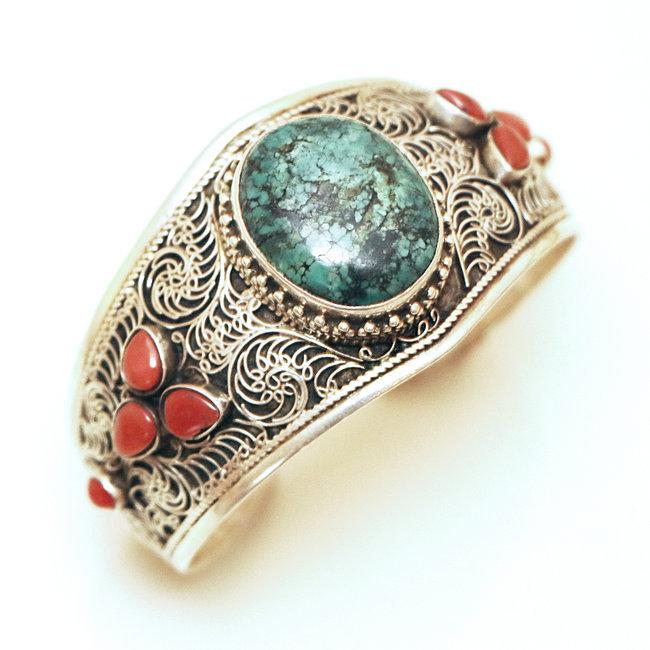 Bracelet manchette filigranes argent 925 Corail Turquoise , Népal 030