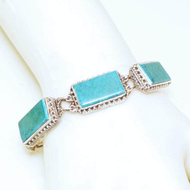 Bracelet filigranes argent 925 et Turquoise naturelle , Népal 036