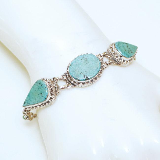 en soldes 65999 fd7e7 Bracelet filigranes argent 925 et Turquoise naturelle - Népal 037