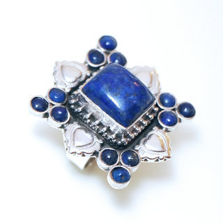 Bague large rectangle argent 925 et Lapis-Lazuli - Népal 181