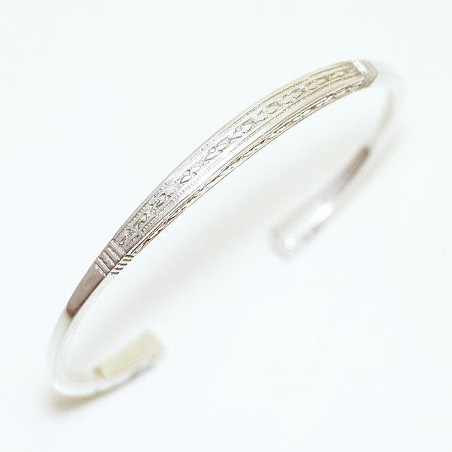 Bracelet touareg argent 925 jonc fin carré , Niger 061