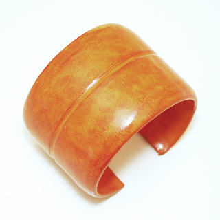 Bracelet manchette touareg large cuir Orange simple - Mali 002