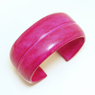 Bracelet manchette touareg medium cuir Rose Fushia simple - Mali 005