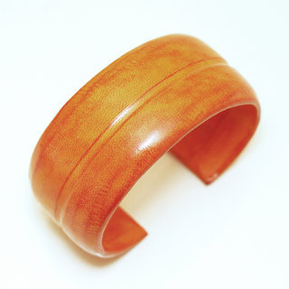 Bracelet manchette touareg moyen cuir Orange simple - Mali 005