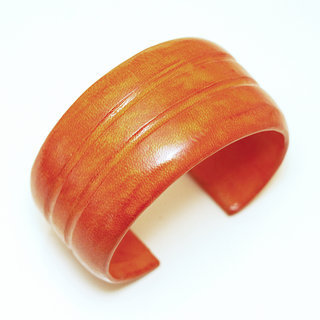 Bracelet manchette touareg medium cuir Orange double - Mali 006