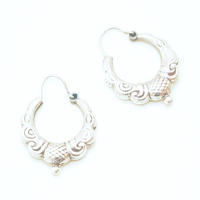 plus récent ab1a3 758d9 Boucles d'oreilles petites créoles argent 925 - Népal 026