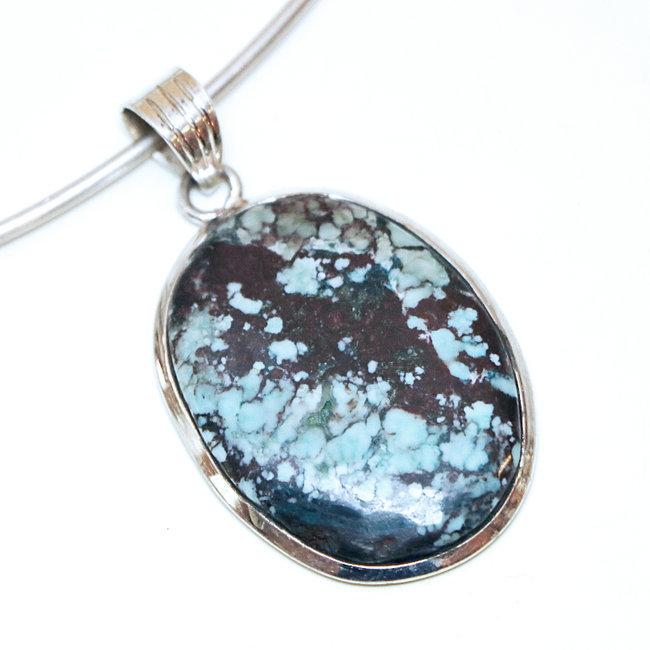 Pendentif argent 925 ovale et Turquoise naturelle , Inde 260